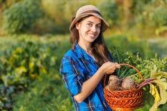 Mulher com a cesta dos vegetais Foto de Stock