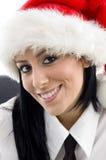 Mulher com chapéu do Natal Fotografia de Stock Royalty Free