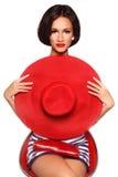 Mulher com chapéu vermelho imagem de stock