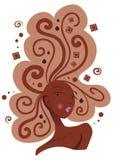 Mulher com chocolate no cabelo fotos de stock