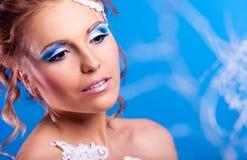 Mulher com composição Imagens de Stock Royalty Free