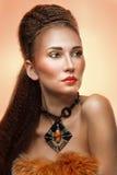 Mulher com composição brilhante fotos de stock