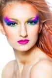 Mulher com composição colorido Foto de Stock Royalty Free