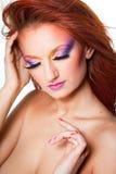 Mulher com composição colorido Fotos de Stock