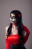 Mulher com composição do crânio do açúcar Fotografia de Stock Royalty Free