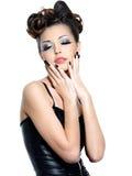 mulher com composição e manicure da forma Imagem de Stock Royalty Free