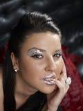 Mulher com composição glittery imagem de stock