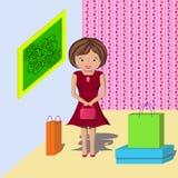 Mulher com compra na casa ilustração do vetor