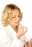 Mulher com comprimido Imagens de Stock