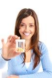 Mulher com comprimidos Fotografia de Stock