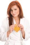 Mulher com comprimidos Fotos de Stock Royalty Free