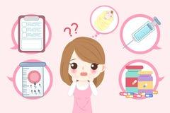 Mulher com conceito da infertilidade ilustração do vetor