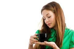 Mulher com copo de café foto de stock