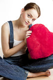 Mulher com coração imagens de stock