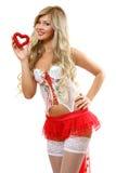 A mulher com coração Imagens de Stock