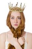 A mulher com a coroa isolada no branco foto de stock royalty free