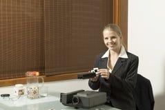 Mulher com corrediças Foto de Stock