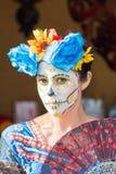 Mulher com crânio do açúcar Imagem de Stock Royalty Free
