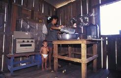 Mulher com criança dentro de uma casa de madeira em Amazónia Imagem de Stock