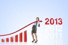 Mulher com curva das estatísticas Fotos de Stock Royalty Free