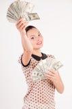 Mulher com dólares americanos Fotos de Stock Royalty Free