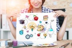 Mulher com desenho da educação fotografia de stock