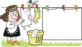 Mulher com desenhos animados de lavagem Imagem de Stock