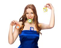 Mulher com despertadores Fotos de Stock Royalty Free