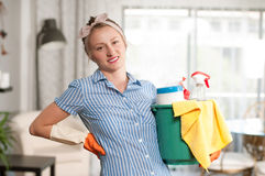 Mulher com detergente Imagem de Stock Royalty Free