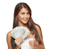 Mulher com dinheiro do dólar americano Imagens de Stock Royalty Free