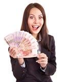Mulher com dinheiro. Rublo do russo. Imagens de Stock