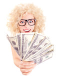 Mulher com dólares em suas mãos Foto de Stock