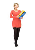 Mulher com dobradores Imagem de Stock Royalty Free