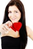 Mulher com dois corações Foto de Stock Royalty Free