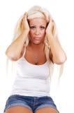 Mulher com dor da charneca. imagens de stock royalty free
