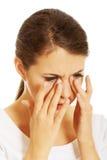 Mulher com dor das cavidades Fotografia de Stock Royalty Free