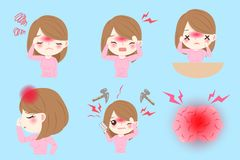 Mulher com dor de cabeça ilustração royalty free