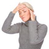 Mulher com dor de cabeça foto de stock