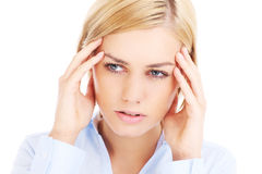 Mulher com dor de cabeça Imagens de Stock Royalty Free