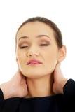 Mulher com dor de garganta Imagem de Stock Royalty Free