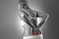 Mulher com dor lombar Cause dor no corpo humano em um fundo cinzento Fotos de Stock