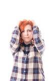 Mulher com dor principal Fotos de Stock Royalty Free