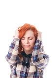 Mulher com dor principal Foto de Stock Royalty Free