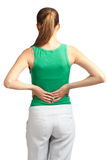 Mulher com dor traseira Foto de Stock