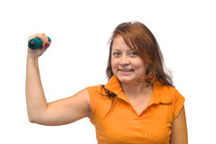 Mulher com dumbbells Imagens de Stock