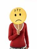 Mulher com emoticon Fotos de Stock