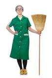 Mulher com escova arrebatadora Imagem de Stock