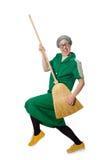 Mulher com escova arrebatadora Fotos de Stock
