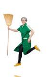 Mulher com escova arrebatadora Fotos de Stock Royalty Free