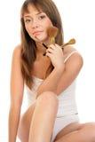 Mulher com escovas da composição Foto de Stock Royalty Free